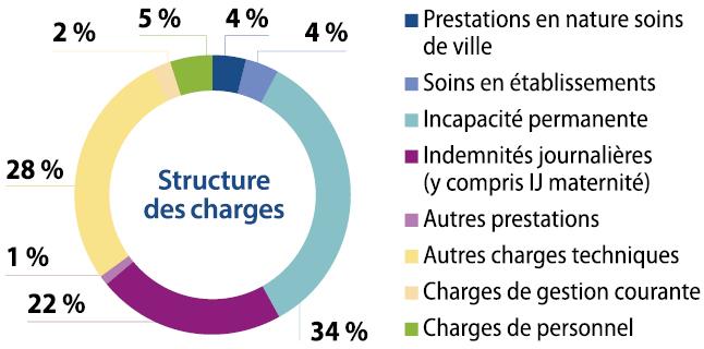 Graphique : les principaux postes de dépenses de l'Assurance Maladie – Risques professionnels (cf. description détaillée ci-après)